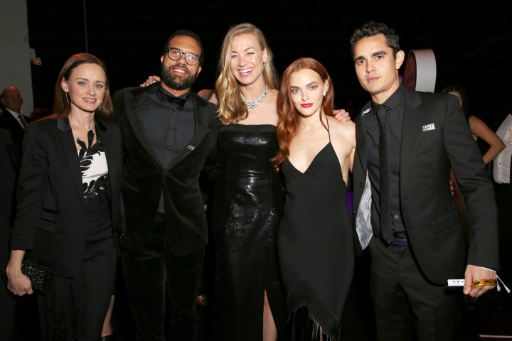 Alexis Bledel, O. T. Fagbenle, Yvonne Strahovski, Madeline Brewer and Max Minghella attend Hulu's 2018 Golden Globes After Party.