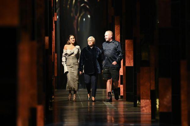 Audience Applauds Fashion designers Delfina Delettrez Fendi, Silvia Venturini Fendi & Kim Jones