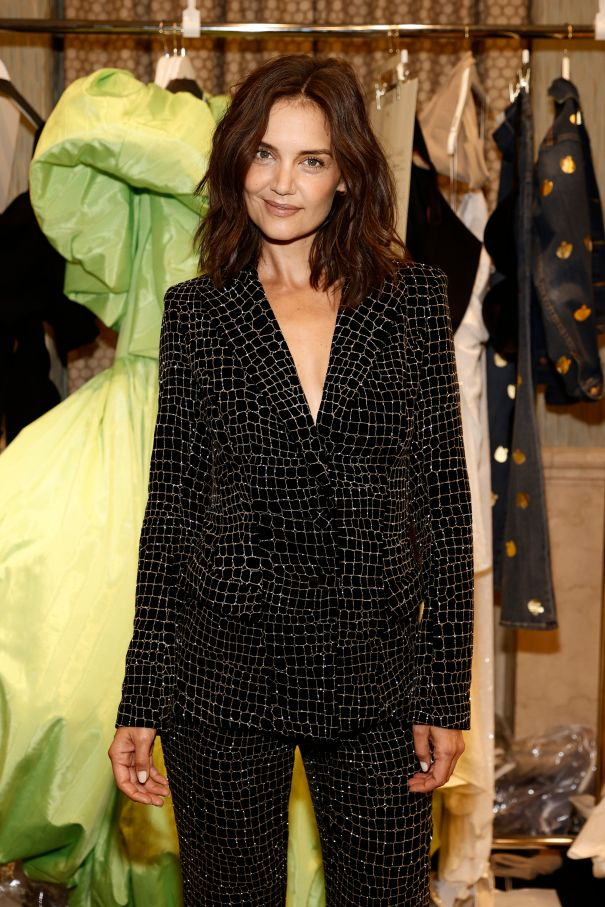 Katie Holmes Stuns In Glittering Suit