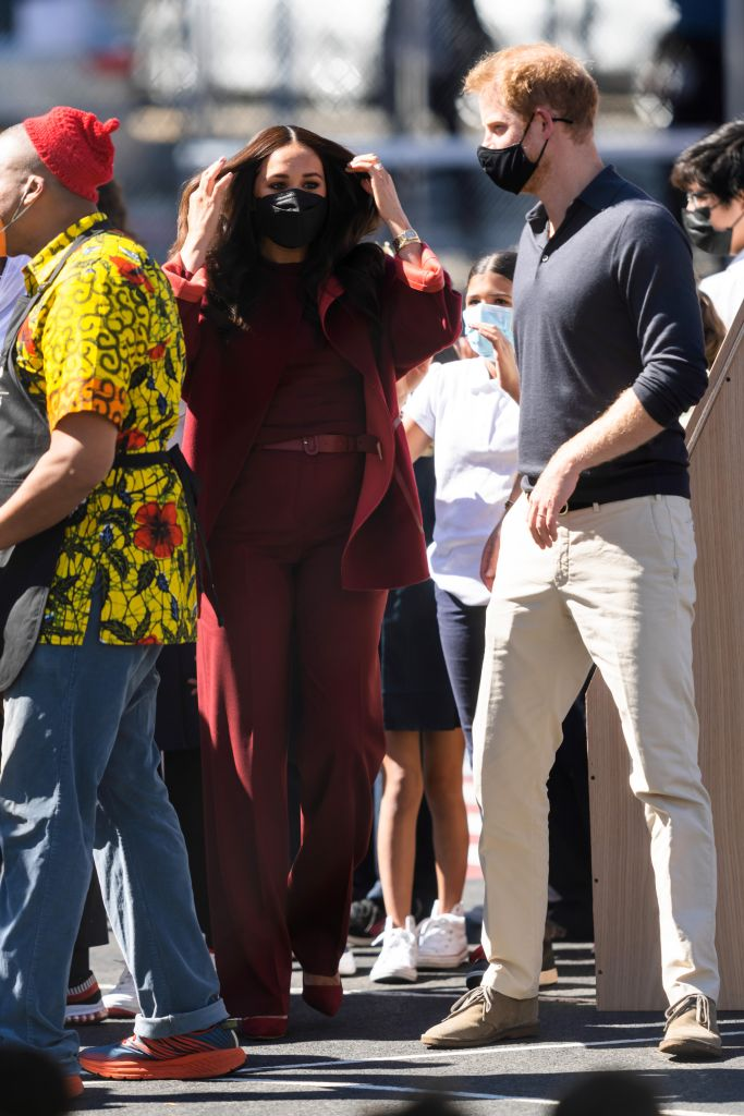 Meghan, Duchess of Sussex, and Prince Harry, Duke of Sussex, are seen in Harlem on September 23, 2021 in New York City. (Photo by Gotham/GC Images/Getty)