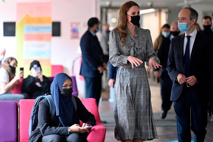 Kate Middleton speaks with Professor Pasco Fearon, during her visit to University College London's Centre for Longitudinal Studies