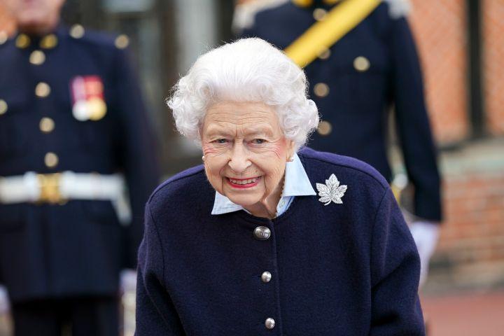 Queen Elizabeth II meets members of the Royal Regiment of Canadian Artillery at Windsor Castle.