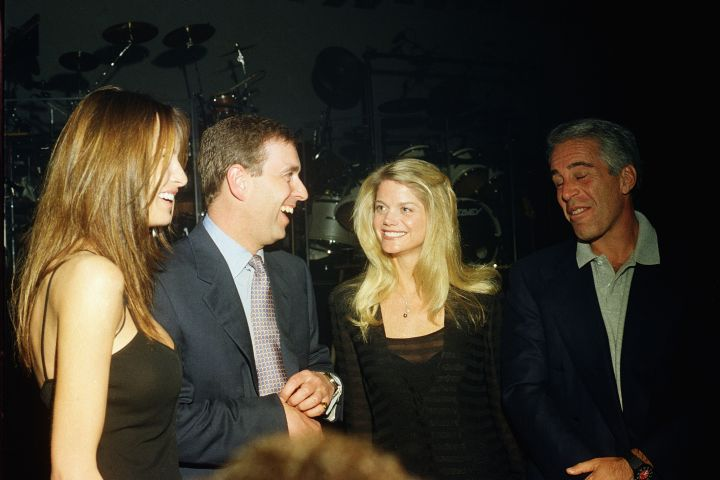 Melania Trump, Prince Andrew, Gwendolyn Beck and Jeffrey Epstein at a party at the Mar-a-Lago club, Palm Beach, Florida, February 12, 2000. (Photo by )
