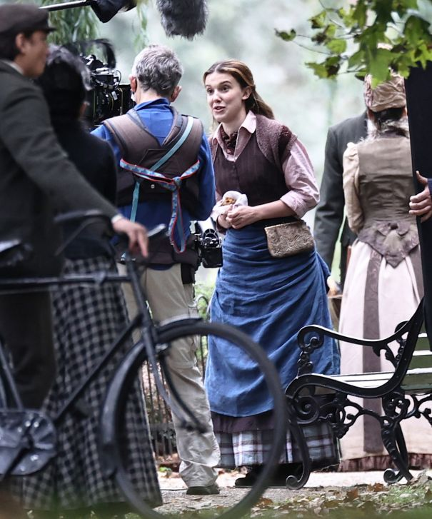 Millie Bobby Brown On The Set Of 'Enola Holmes 2'