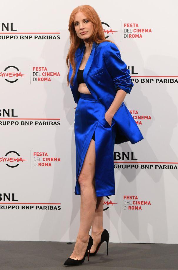 Jessica Chastain Sleek In Satin